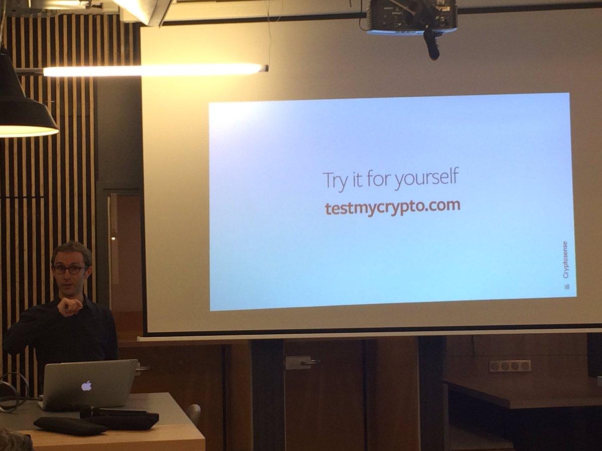 Testez votre #cryptographie avec les outils de @cryptosense sur  http:// testmycrypto.com  &nbsp;   / Meetup #data et sécurité chez @Nextdoor_fr<br>http://pic.twitter.com/BxJyJARb4a