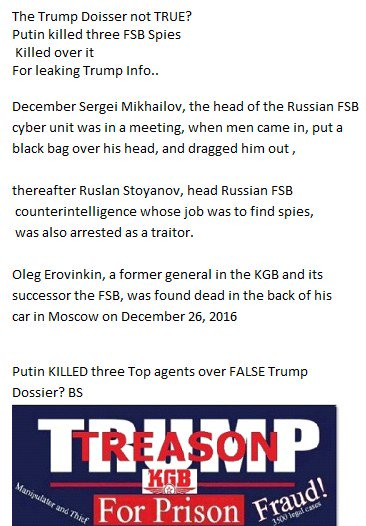 #ScrewUpTrump is a Spy Putin killed 3 top FSB agents For leaking Blackmail Story https://t.co/1VhDntr9f8