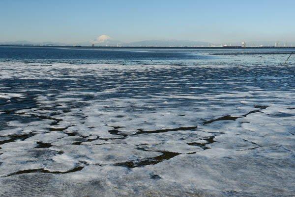 """3日付「絶景を行く」は東京湾が凍った珍しい光景を。まるで北海道オホーツク沿岸の""""流氷""""のようだ。神秘…"""