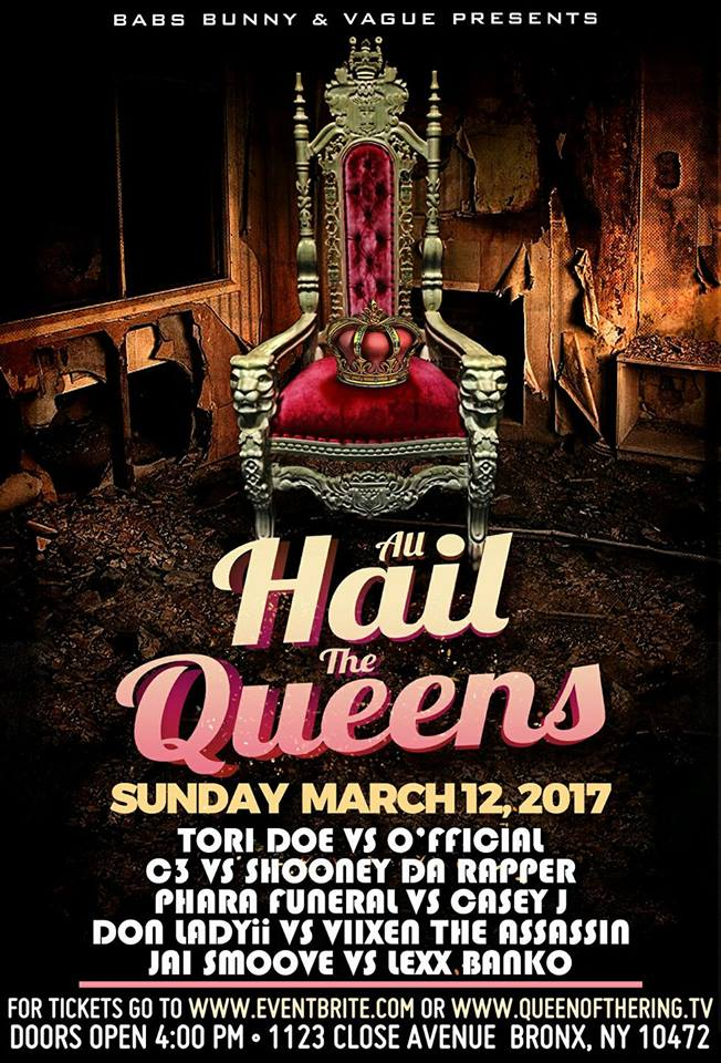 """QUEEN OF THE RING on Twitter: """"GET YOUR TICKETS NOW!!! QOTR EVENT UPDATES ( A.H.T.Q. MARCH 12TH INFO) https://t.co/pboSGonjiG… """""""