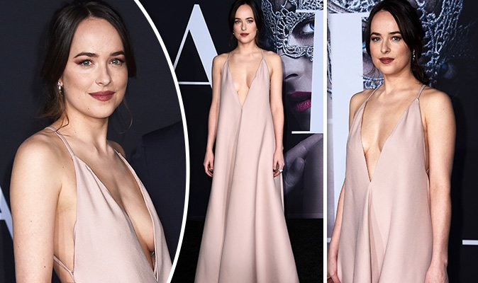 705e129db4 dakota johnson goes braless as she takes the plunge at fifty shades darker  premiere