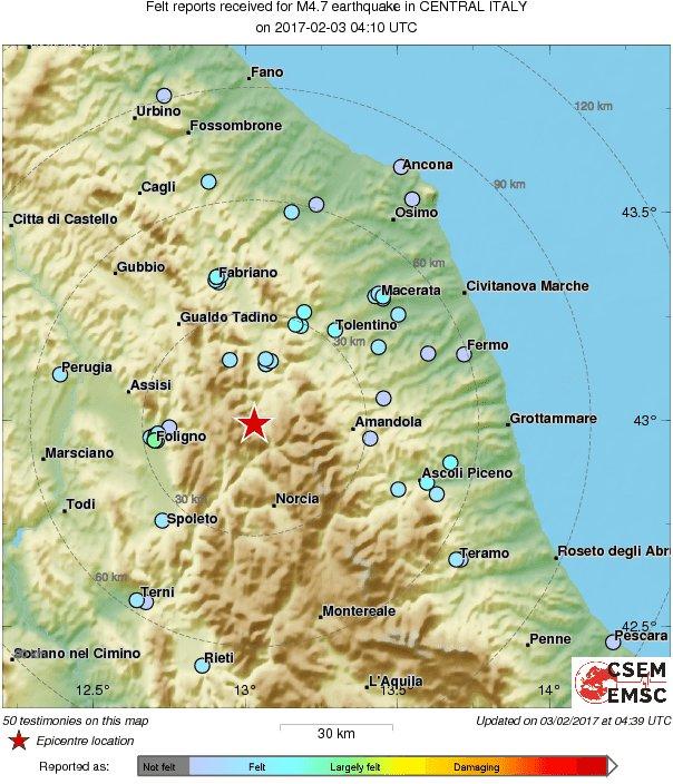 M4 7 Earthquake Terremoto Strikes 54 Km E Of Perugia Italy
