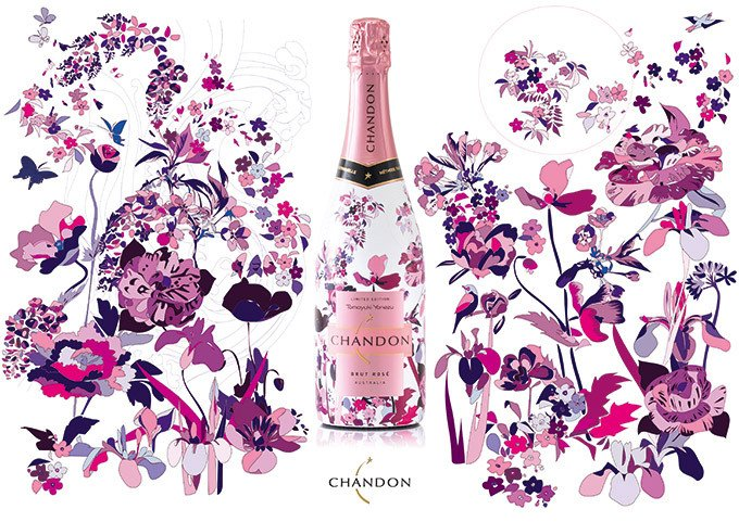 シャンドン ロゼ「花鳥風月」をイメージしたボトル登場 - 米津智之が桜・牡丹などを現代的に表現 fa…