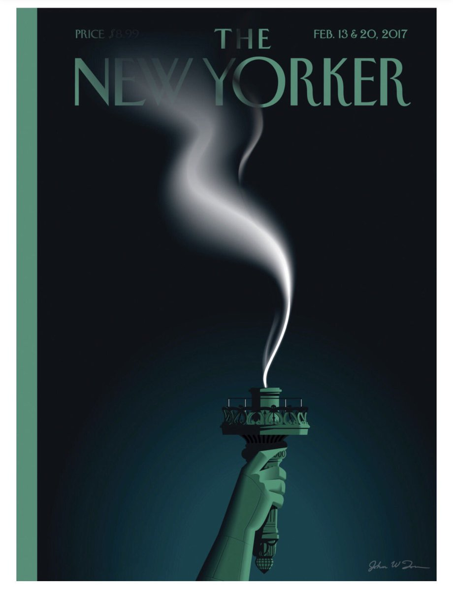 Trump extinguishes Lady Liberty's light, New Yorker cartoon