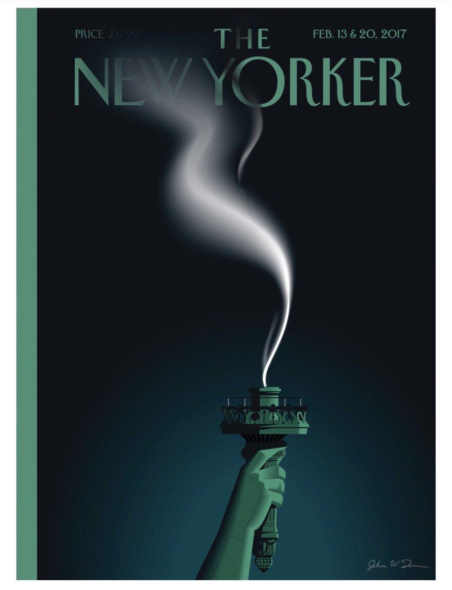 Trump extinguishes Lady Liberty's light, New Yorker cartoon