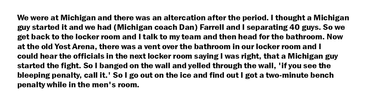 A classic Jeff Sauer story that he shared on INCH (and at a few bars) about getting a penalty while at a urinal: https://t.co/Gtn3Ab00Ef