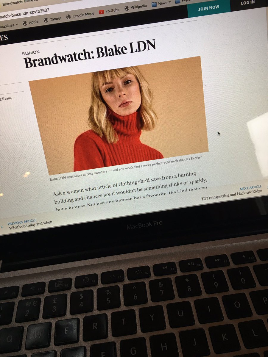 We are @thetimes @TimesFashion #BrandToWatch | for all iPad users > head over to read about Alice's journey and her love for knitwear https://t.co/d3EDYUpf5o