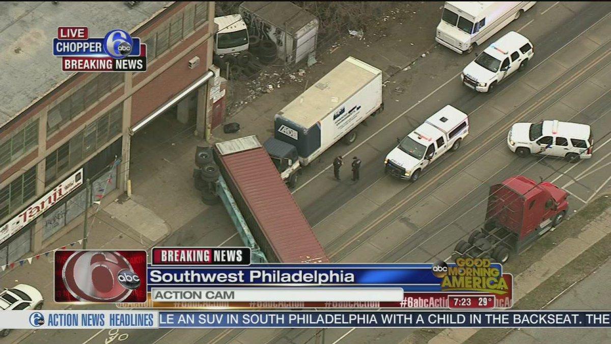 Tractor trailer overturns in southwest philadelphia #6abc
