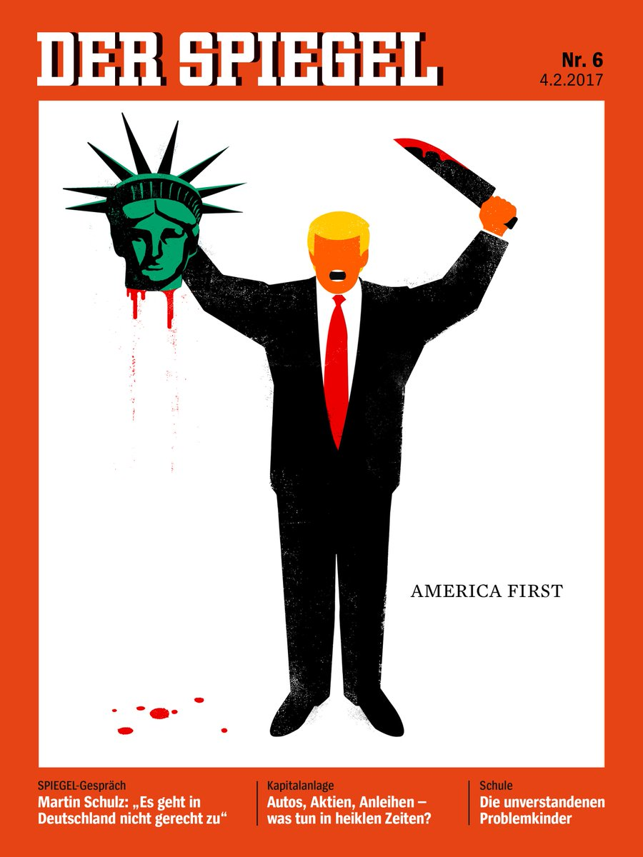 Donald Trump beheads Statue of Liberty, cartoon