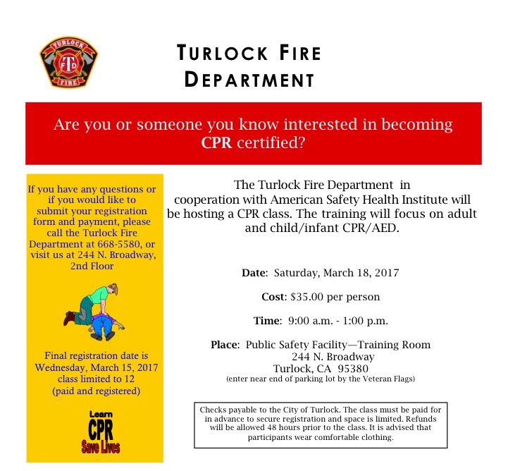Turlock Fire On Twitter Get Cpr Certified Sign Up For Our