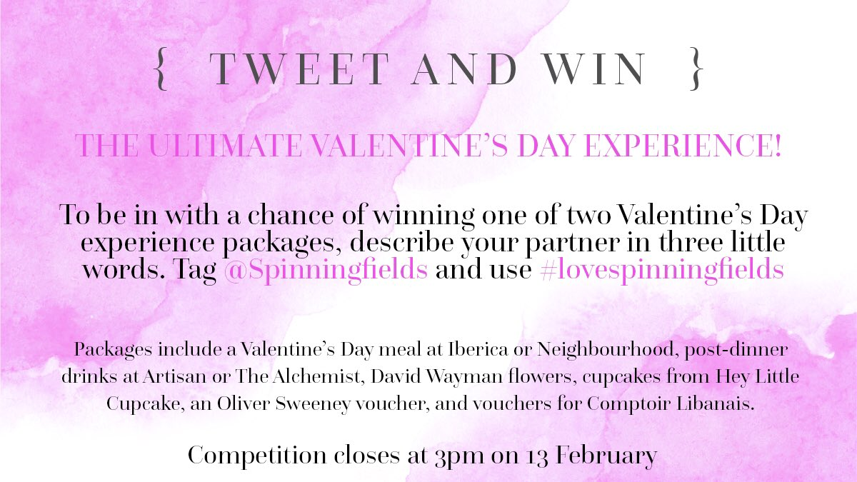 spinningfields on twitter adorable loyal gorgeous describe describe your partner in three little words and you could win big 💕 lovespinningfields t co 8apsyqmt05 t co zugcn2adlr