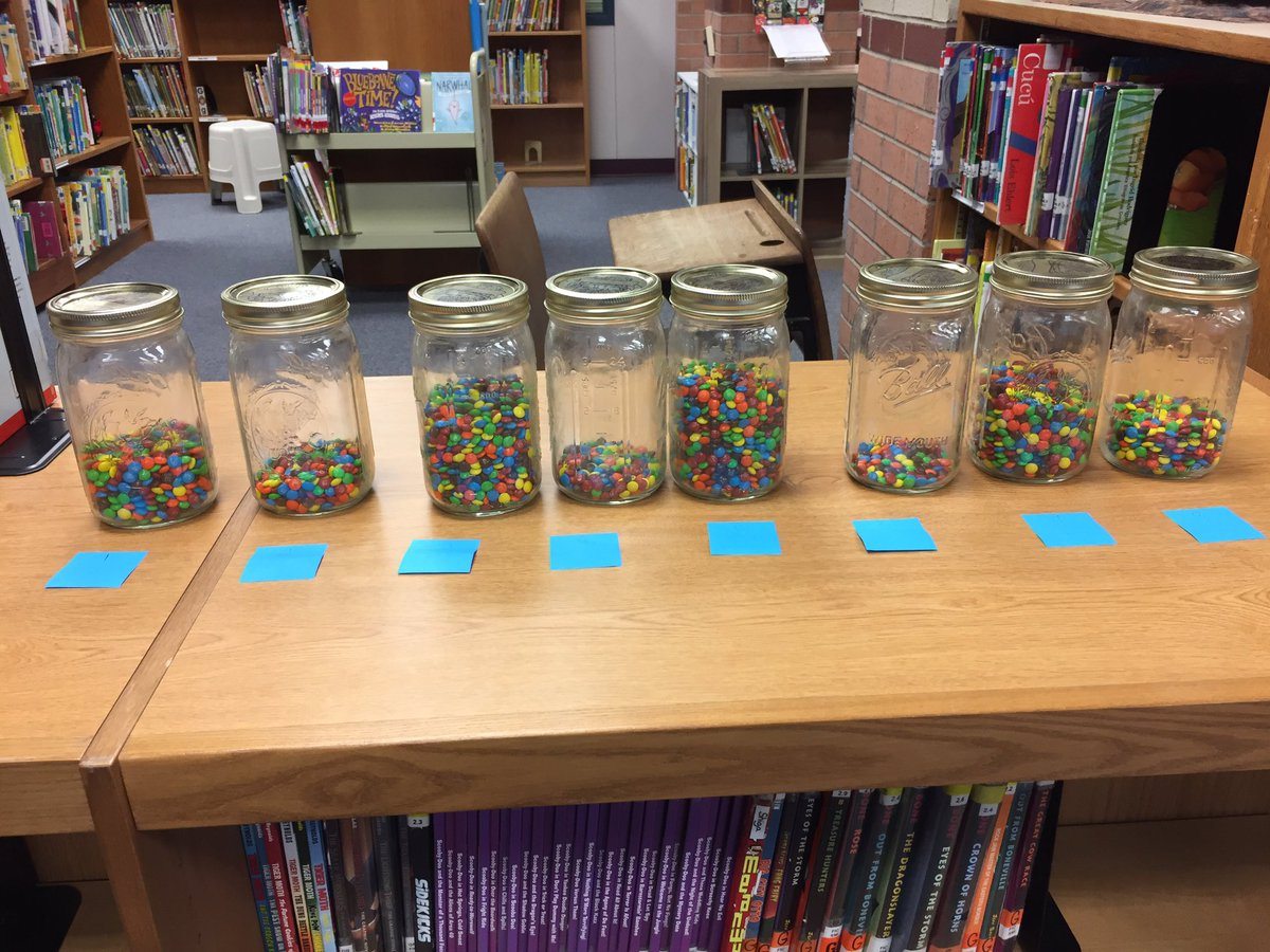 100th day of school.  Which jar has 100 mini M&Ms?  Only one class guessed correctly! #Dorsey_wildcats