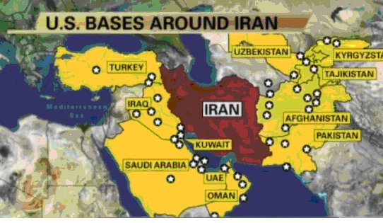 PROOF That Russia And Iran Want War - Map of us bases around iran