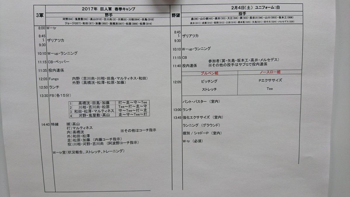 2月4日(土)#春季キャンプ 練習メニュー 一軍:宮崎 サンマリン 二軍:宮崎 ひむか 三軍:ジャイ…