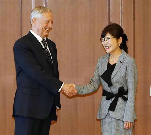 稲田防衛相と会談 マティス米国防長官「初の外国訪問にこの地域を選んだのは、私がこの地域に高い関心を示…
