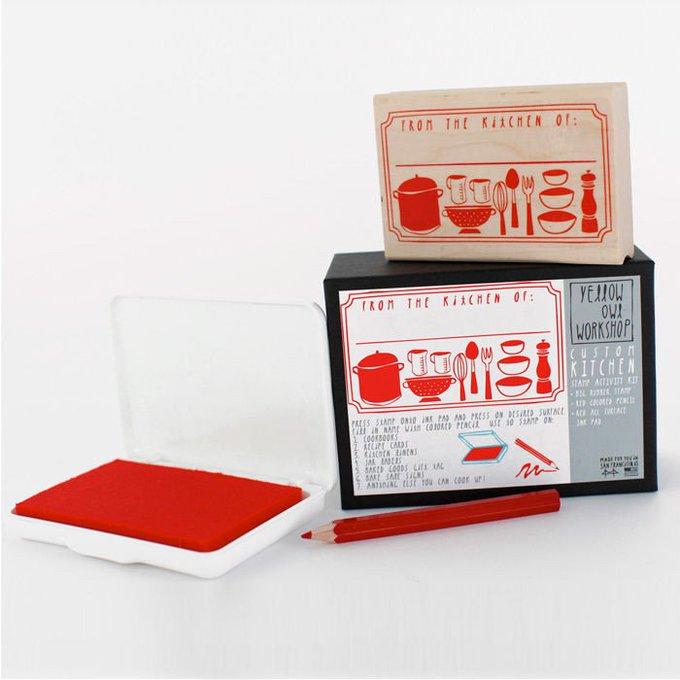 DIY Kitchen Menu Food Stamp Art Activity Kit Set with Ink Pad Illustration Line Design