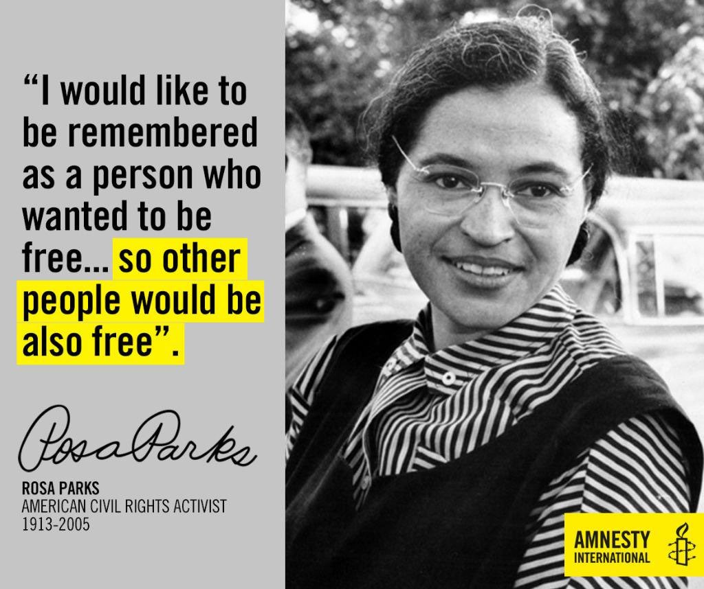 On this day in 1913 #RosaParks was born. She took her stand for human rights - by sitting down. #blackhistorymonth https://t.co/Nm7M7KSL47