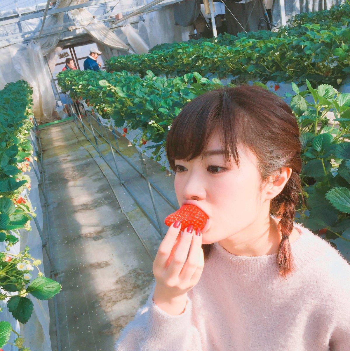 声優がイチゴを食べているだけの写真