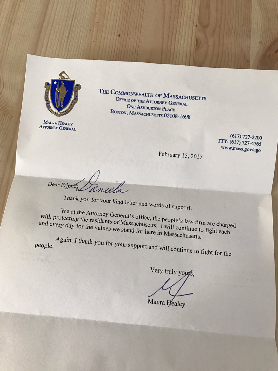 Wrote to @MassAGO thanking her for pushing forward the investigation on what #ExxonKnew about #climatechange, &amp; I got a letter back! Thanks!<br>http://pic.twitter.com/2xulQtPgm7