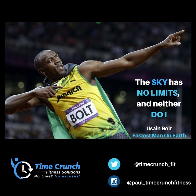 Don&#39;t limit yourself or sabotage your progress - keep your options open and shoot for the moon! #usain #bolt #nolimits #noexcuses<br>http://pic.twitter.com/BTuDCnTLOJ