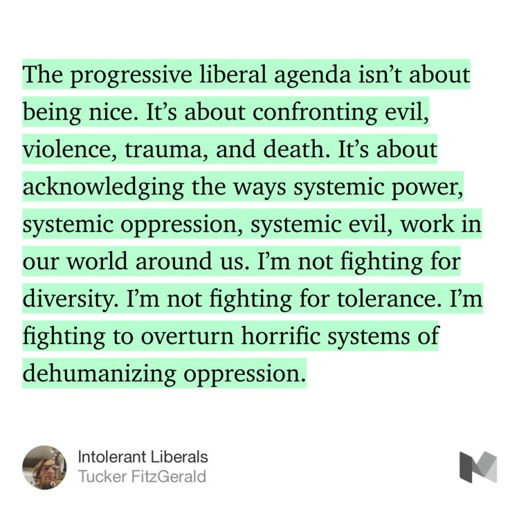 """Intolerant Liberals"" — Tucker FitzGerald https://t.co/iPCW1ey4ST https://t.co/xaMF9JB15T"