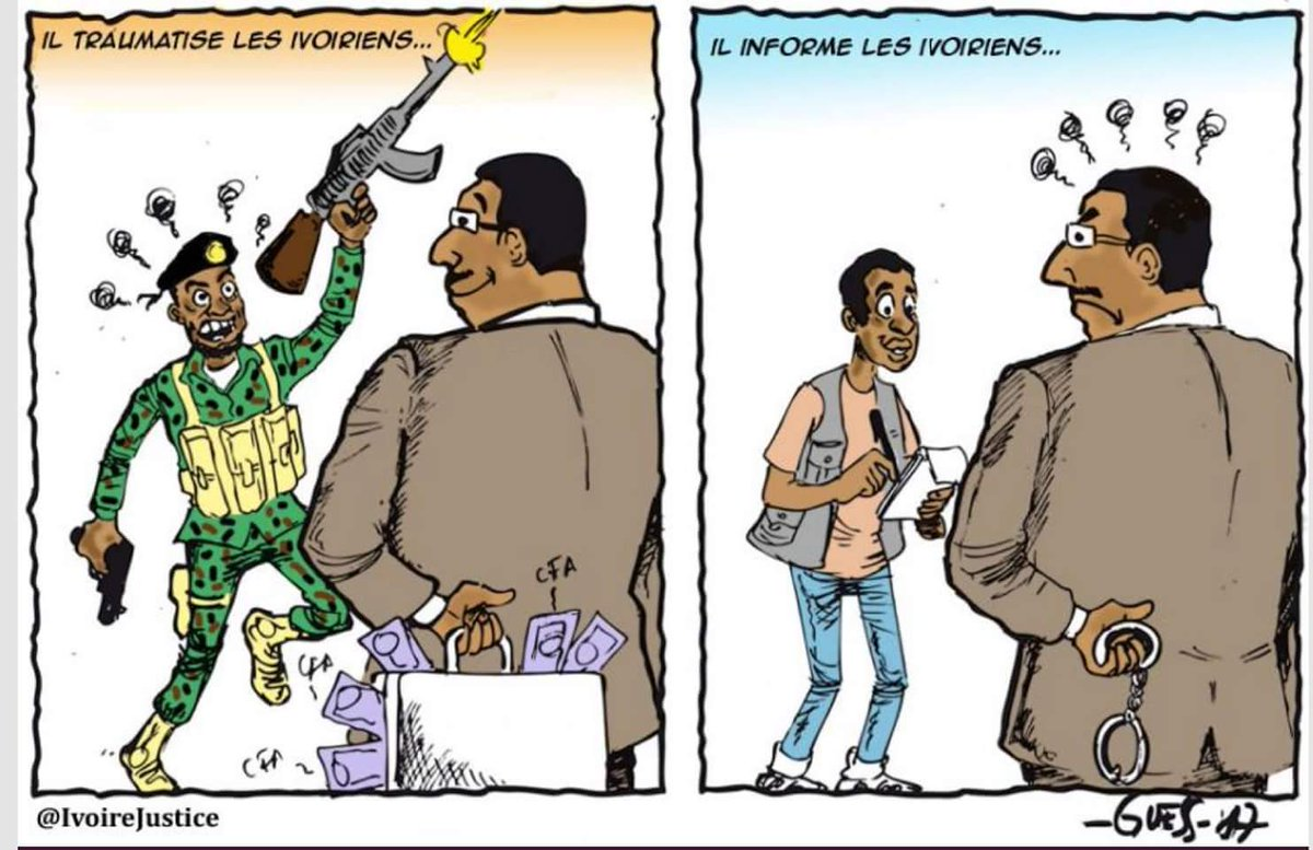 Qu&#39;elle est belle la #CIV sous #Ouattara : la prime aux mutins, la prison aux journalistes. #shame #civsocial<br>http://pic.twitter.com/Nyracnd2V4