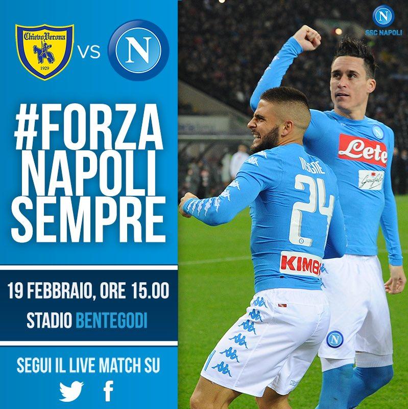 Domenica 19 febbraio, ore 15, Stadio Bentegodi: #ChievoNapoli @SerieA_...