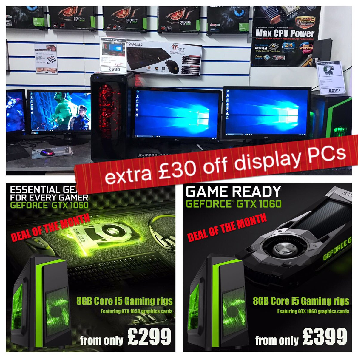 #Gaming Sale #Sunday 12-5pm Core i5 GTX 1050 systems from £299 AC #Technology 369 Edge Lane #Liverpool L7 9LQ<br>http://pic.twitter.com/G1JwfMTSkN
