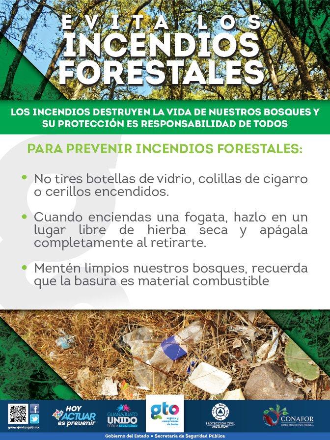 RT @AlvarCdeV: Evita incendios forestales. Atiende las siguientes recomendaciones. #GtoUnidoPorLaSeguridad #Actuar… <br>http://pic.twitter.com/HD3Sf2UPb0