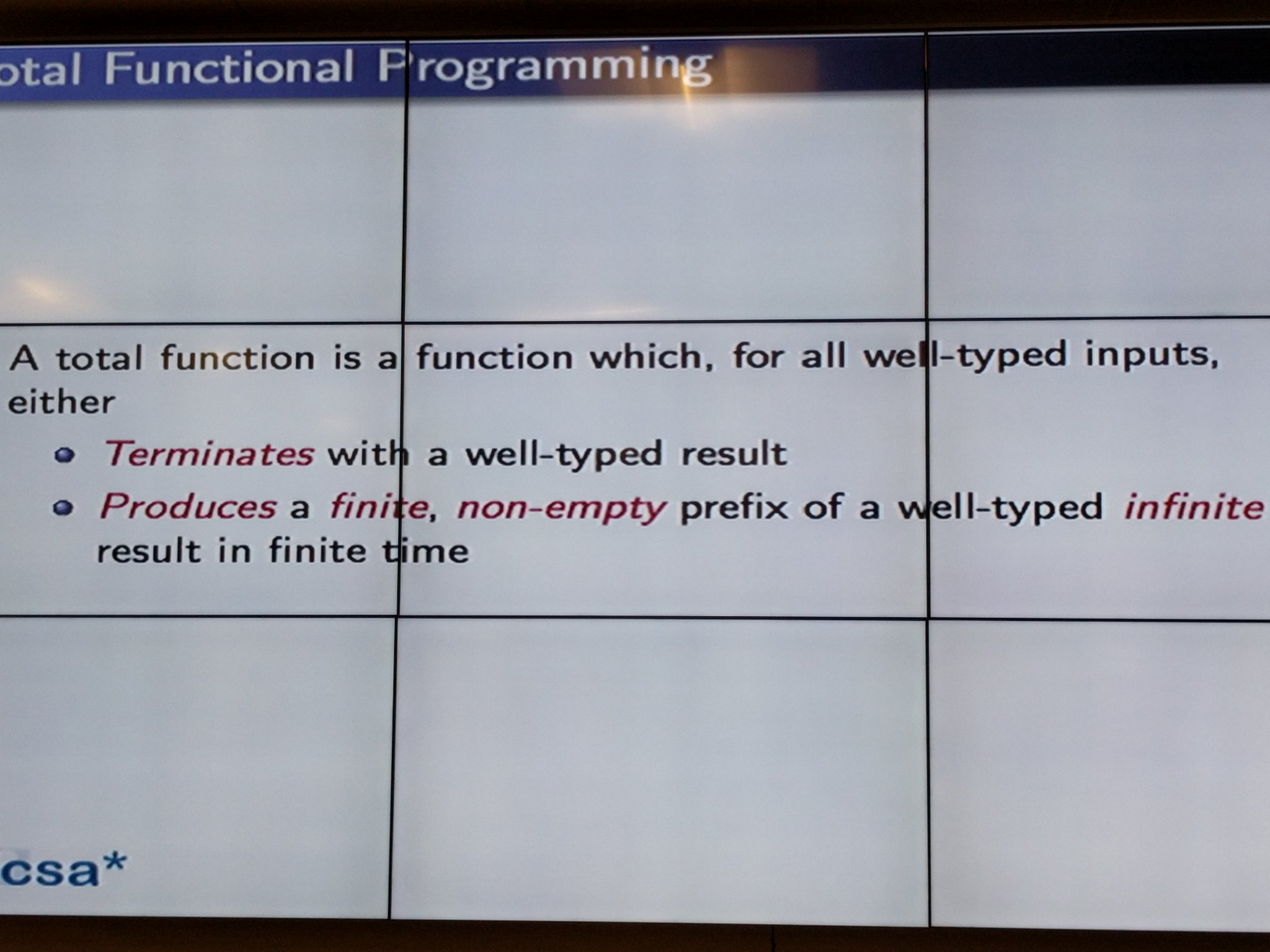 "A slide from ""Total Functional Programming"", a talk by @edwinbrady, creator of Idris, at #KatsConf2 today in Dublin. https://t.co/l1NQeKnB0S"
