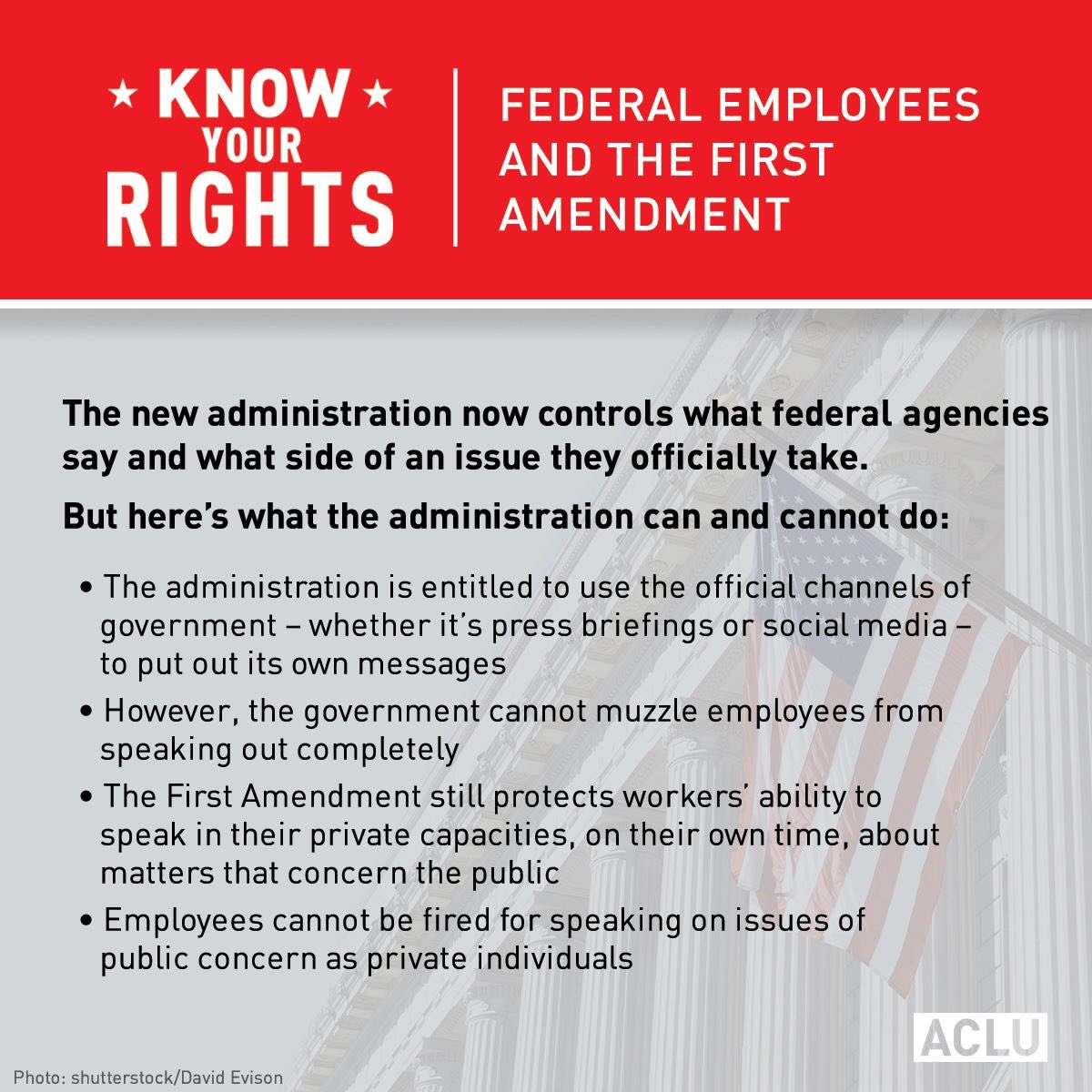 KNOW YOUR RIGHTS: Federal employees and the First Amendment.