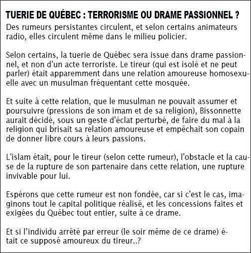 Rumeur incessante Tuerie de Québec  : Terrorisme ou drame passionnel ?  #polqc #QuebecShooting #polcan #attentatquebec #Bissonnette<br>http://pic.twitter.com/JsgGWUhXpC