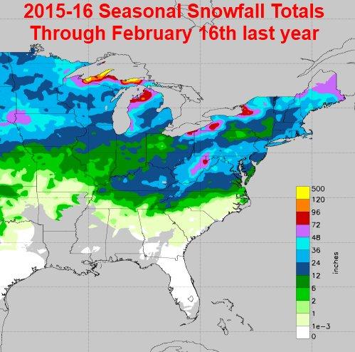 Nws Eastern Region On Twitter 2016 17 Eastern Us Seasonal Snowfall Update Syracuse Topped 100 Today Big Increases Northeast Last 2 Weeks