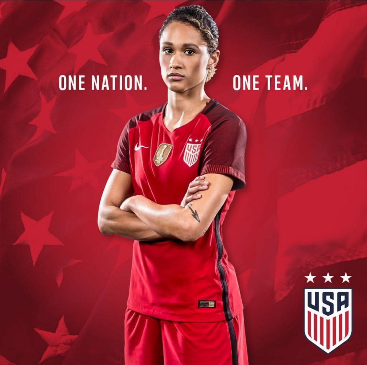 We&#39;re partial to blue and orange, but the red looks good on you @lynnraenie! #PeppAlum #WavesUp #USWNT <br>http://pic.twitter.com/FvAazU4Jbm