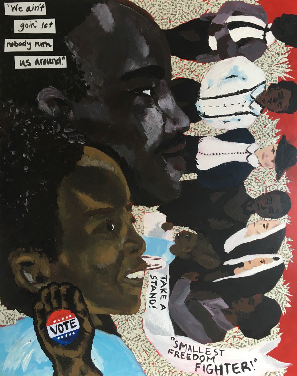 "Mairen O'Neill '19 - mixed media/acrylic painting ""Smallest Freedom Fighter: Sheyann Webb"" to be hung at the PMArt during Youth Art Month. https://t.co/rmmpTA9RS0"