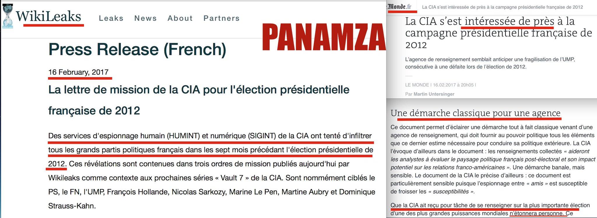 Wikileaks expose l'espionnage de la France par la CIA : Le Monde tente d'étouffer le scandale