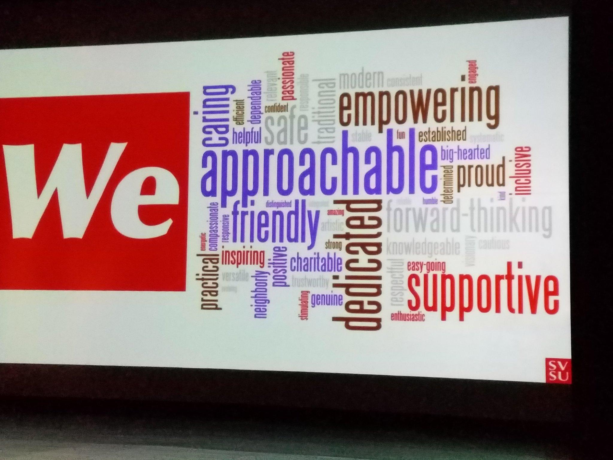 The power of 'we'!  State of the University address.  #svsu #wecardinal #redpride https://t.co/zKWN5lyNZ2