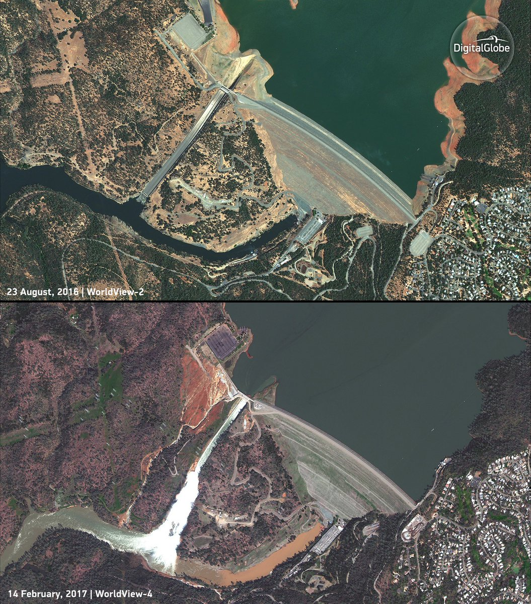 Before and after imagery of the #OrovilleDam. Media send DM for full-res. https://t.co/e8ozD5ESnH