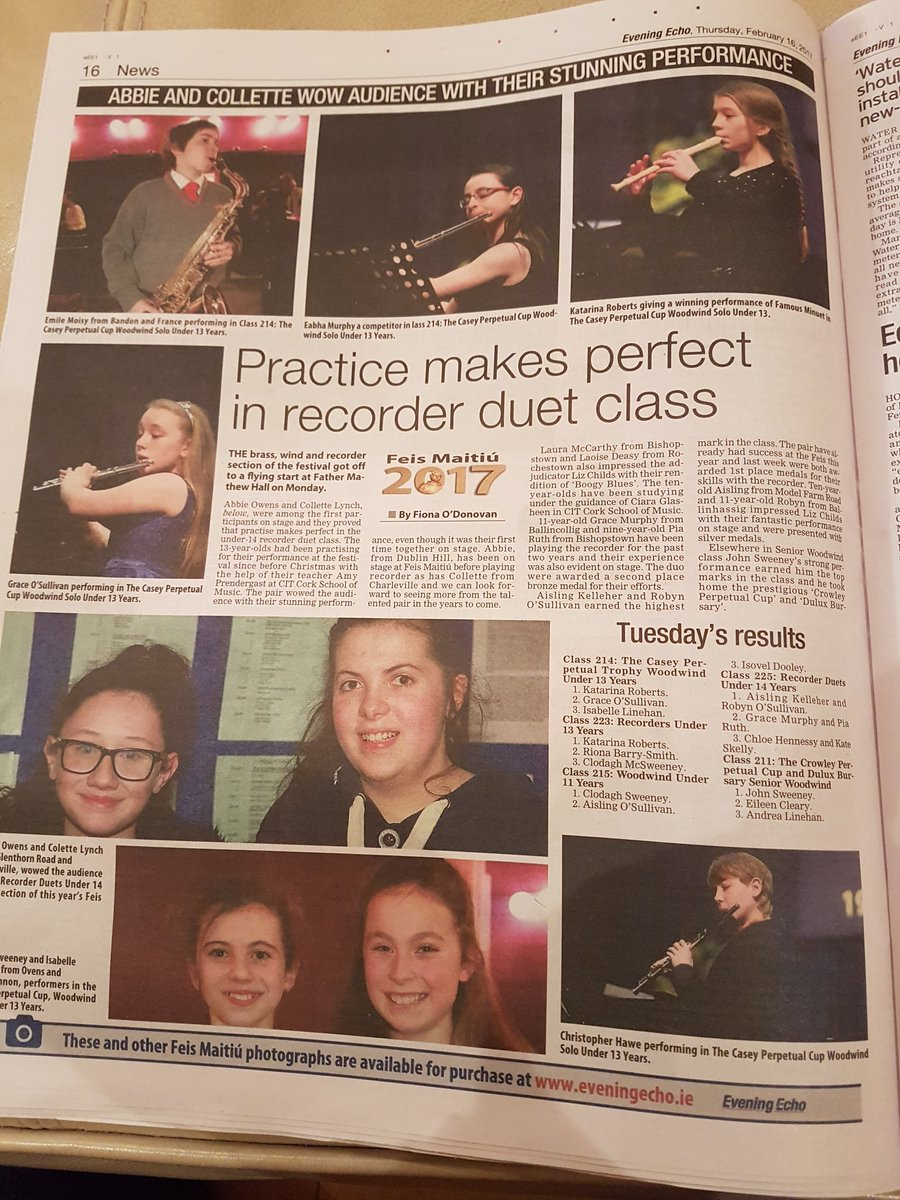 #Brass and #Woodwind pics and report by @FionaRedFM in today&#39;s @CorkEveningEcho. Make sure you get your copy!<br>http://pic.twitter.com/FBSJr2XIWr