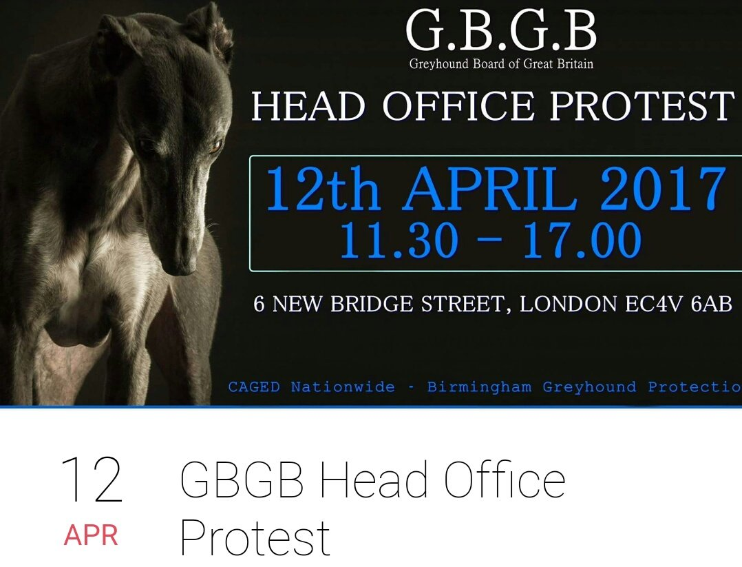 #AnimalRights #Protest #GreyhoundRacing #GBGB  #London #12Apr   @GreyhoundBoard HQ  FraudCrueltyAbuse   https:// m.facebook.com/events/1874621 849488342 &nbsp; … <br>http://pic.twitter.com/EKQ2KxujnV