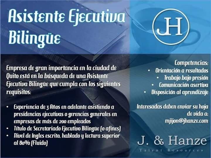 #Quito #Ecuador #Sihaytrabajo  Se Necesita Asistentes Ejecutivas Bilingües interesados enviar su hoja de vida a mjijon@jhanze.com <br>http://pic.twitter.com/FqrhAWMzSz