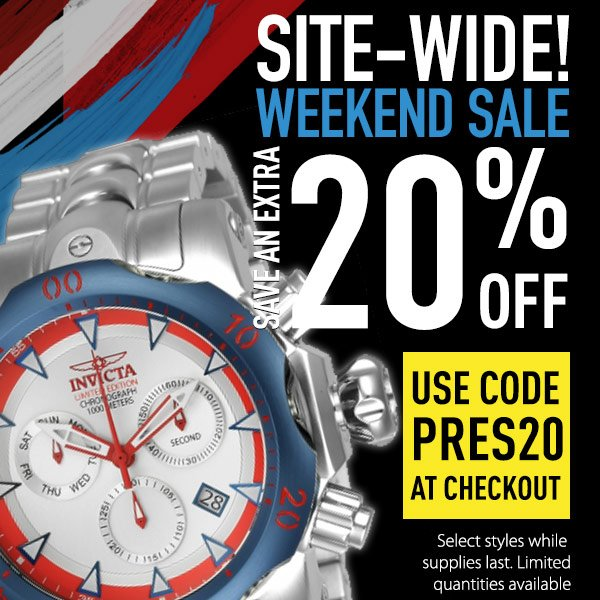 Be the first to shop our Presidents' Day Sale. Save an extra 20% off with code: PRES20. Hurry, shop now!