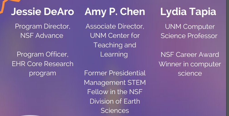 Our panelists include current and former #NSF staff and a recent awardee. They are here to take your questions! #UNMNSF #WomeninSTEM #UNM https://t.co/aYt3DBx4Rw