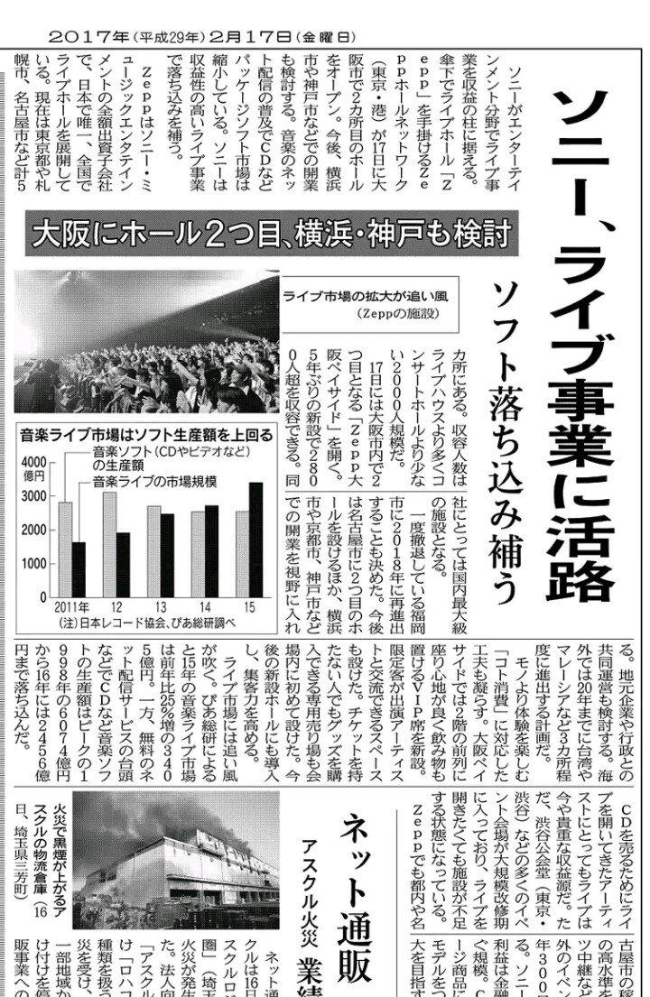 今朝の日本経済新聞より。Zepp福岡の復活決定、新たなZepp名古屋の増設、Zepp横浜、Zepp京都、Zepp神戸の開業を検討するとの記事。こうしたインフラ面が充実が音楽事業の活性化の一助になるといいな。
