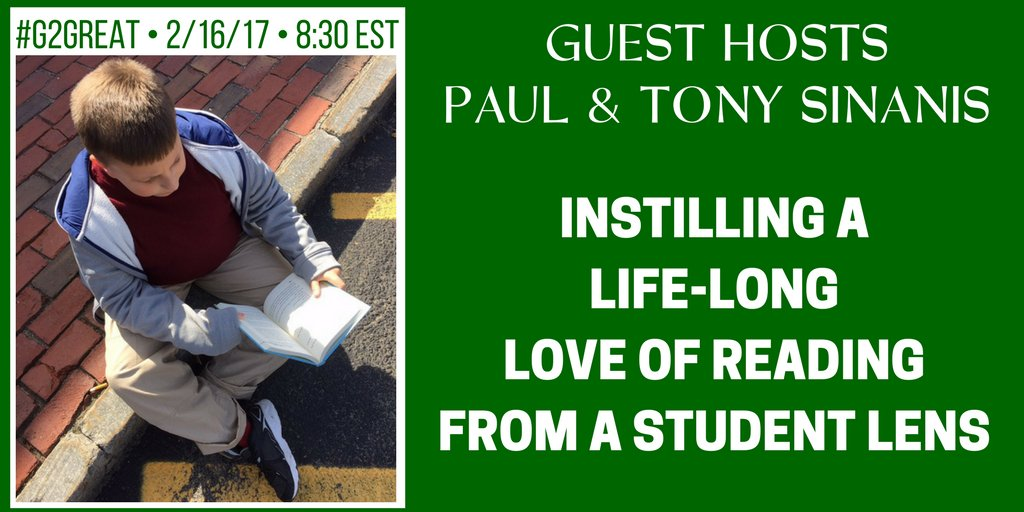 Just 10 minutes until #G2Great welcomes principal Dr. Tony @TonySinanis & Paul (Tony's middle school son) Paul @_0pqul0_ https://t.co/ZZZHGcd8kh