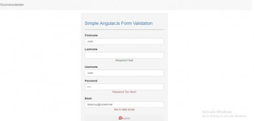 Simple AngularJS Form Validation