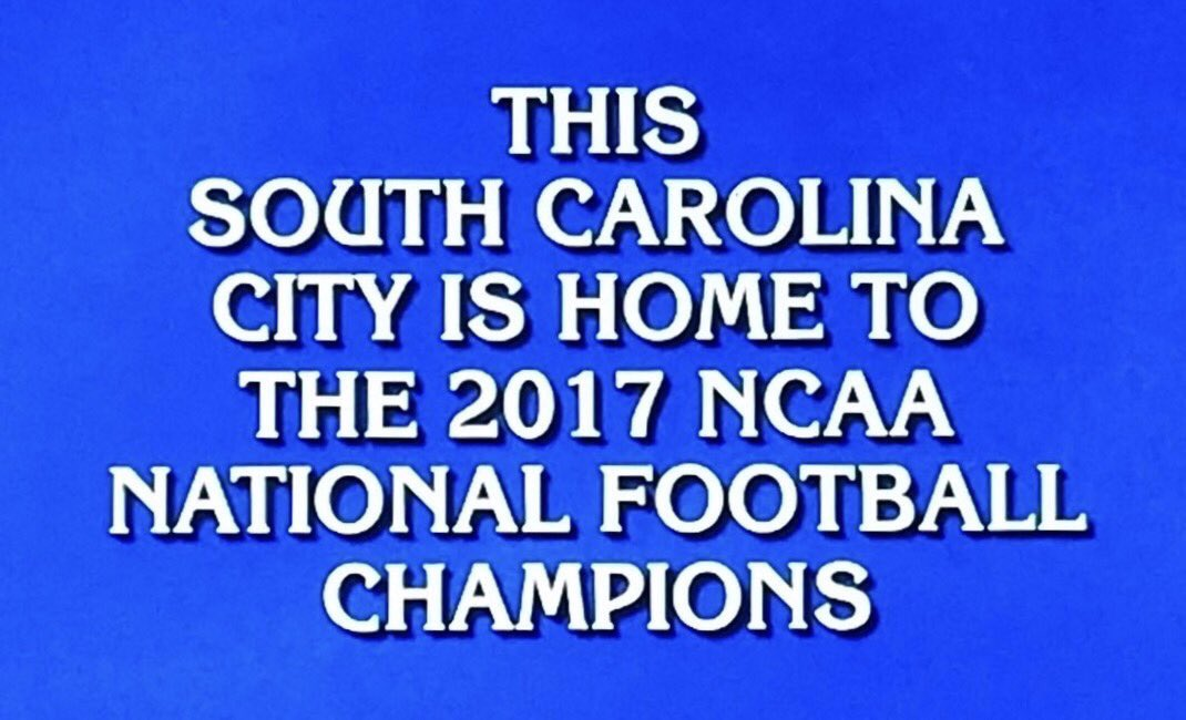 In case y'all forgot...  What is #Clemson? @Jeopardy 🏆 https://t.co/Aw...