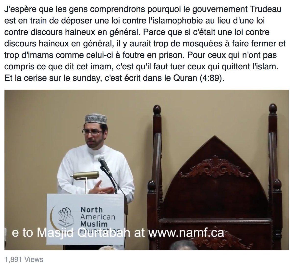 J&#39;espère que les gens comprendrons pourquoi le gouv. Trudeau va déposer une loi contre l&#39;islamophobie...#PLC #PLQ  https://www. facebook.com/AliCamusTheStr anger/posts/1900743670156073 &nbsp; … <br>http://pic.twitter.com/lN3nSfRs0w
