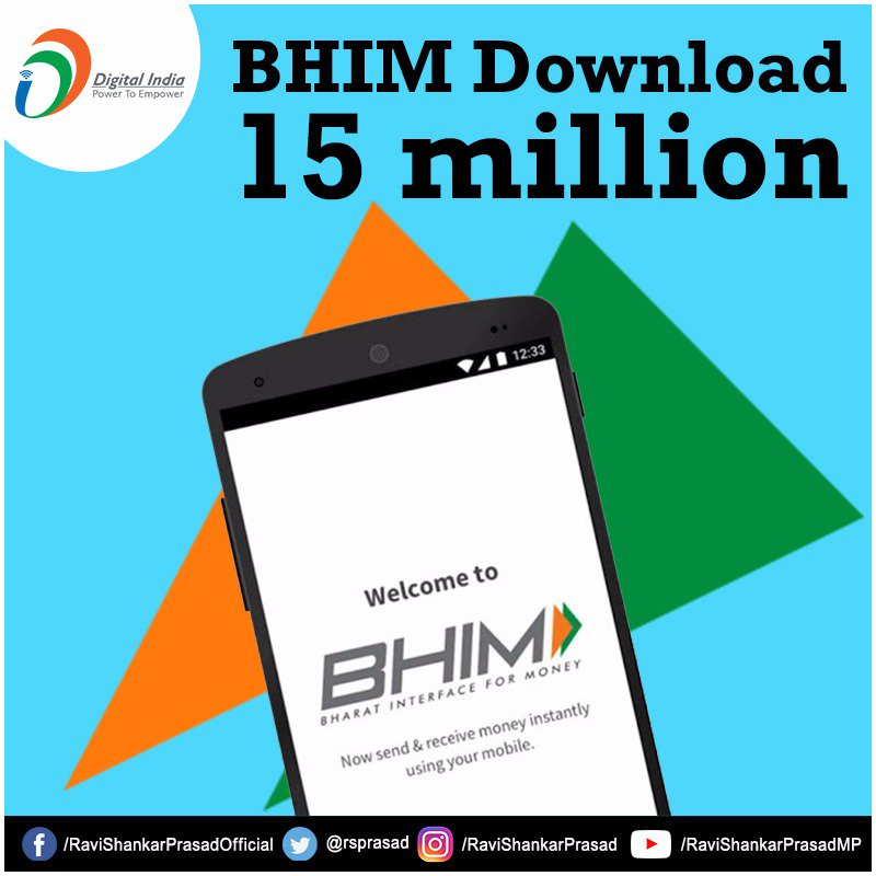 Since its launch on 30th December 2016, #BHIM app has become very popular with 15 million downloads. #DigitalIndia<br>http://pic.twitter.com/ILXewCXfdp