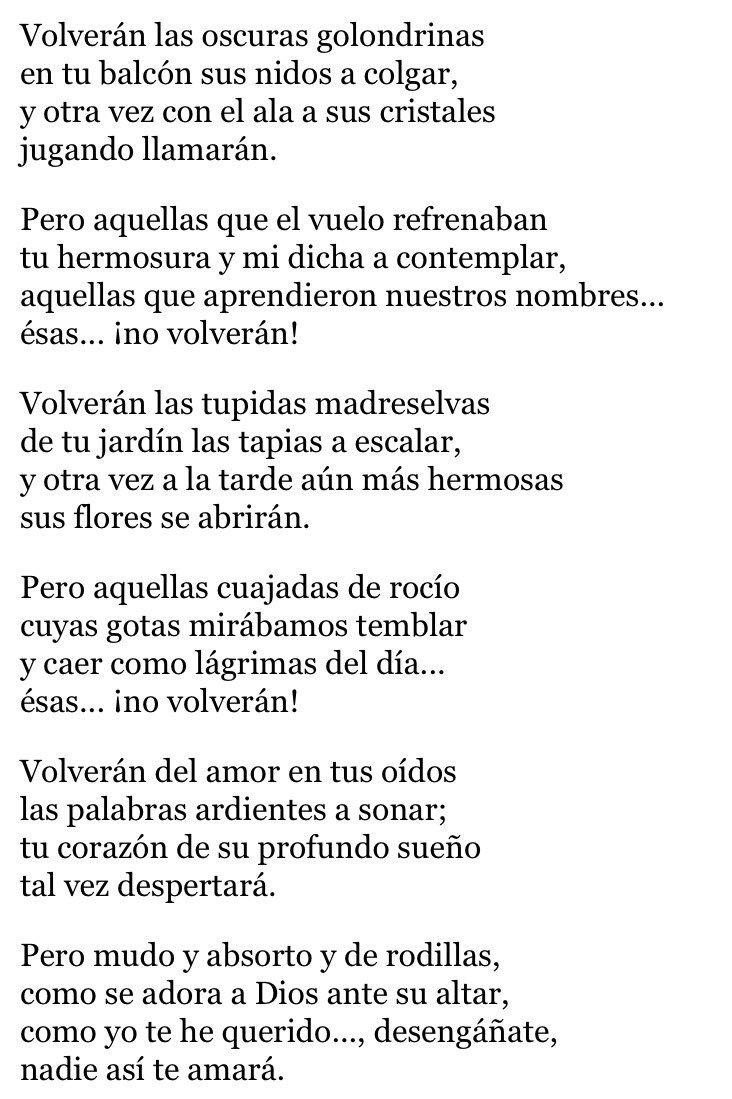 Zarathustra On Twitter Volverán Las Oscuras Golondrinas Rima Liii Personalmente Mi Poema Favorito De Gustavo Adolfo Bécquer